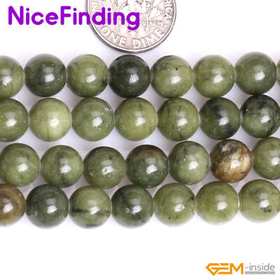 "8,10mm Natural Green Canada Jade Round Precious Stone Beads Jewelry Making 15""NF"