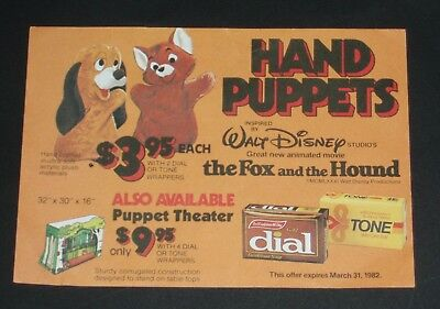 1982 Disney Fox and the Hound Puppet premium order form