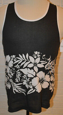 best website f30a8 01df9 Mens Carbon Black  White Floral Sleeveless Tank Top Muscle Shirt Size  Small