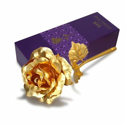 24K Gold Foil Plated Rose Romantic Anniversary Luxury Valentine Gift Bag 5 Color