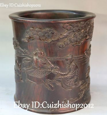 Chinese Boxwood Wood Ancient Old Man People Play Chess Brush Pot pencil Holder