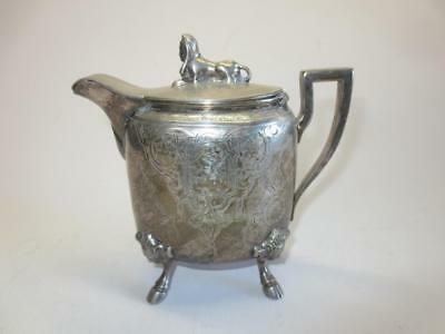 Rare Wilcox Silverplate footed figural Syrup Pitcher with hinged sphinx lid
