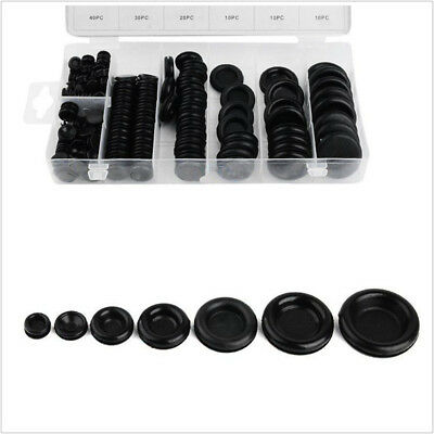170 Pcs 7 Sizes Black Assortment Autos Rubber Grommet Firewall Hole Wire Gasket