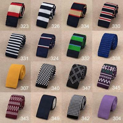 New Classic Mens Tie Knit Skinny Solid Necktie Knitted Narrow Slim Woven Party