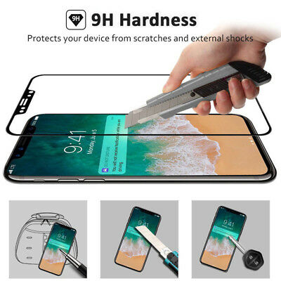 0 Screen Protector Film 5D Full Tempered Glass Curved 9H  For iPhone X 8 Plus