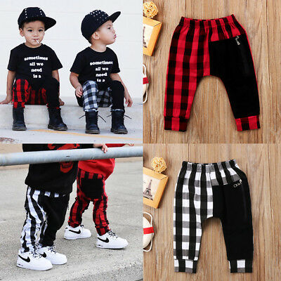 Plaid Toddler Boys Kids Zipper Bottom Pants Panty Harem Pants Trousers Age 1-6T