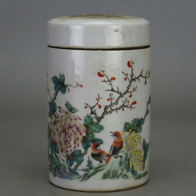 China old hand-carved porcelain famille rose bird & flower pattern tea caddy H