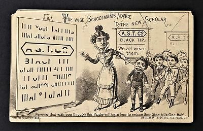 1880 antique AD PUZZLE CARD hold to light A.S.T. BLACK TIP SHOES Doragan danbury