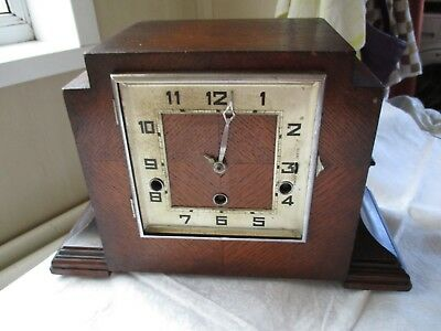 Large Heavy Oak Mantel Clock For Spares Or Repair