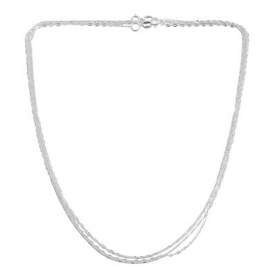 Set of 3 Diamond Cut Box Anchor and Singapore Chain 18 In Rhodium Plated Silver