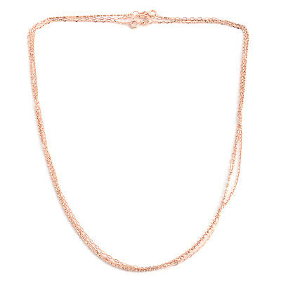 Set of 3 Diamond Cut Anchor, Rolo and Bead Chain 18 In Rose Gold Over Silver