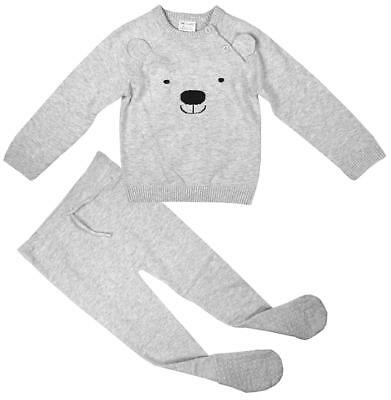 Baby 2 Piece Teddy Bear Face Knit Jumper & Bottoms Outfit Newborn to 24 Months