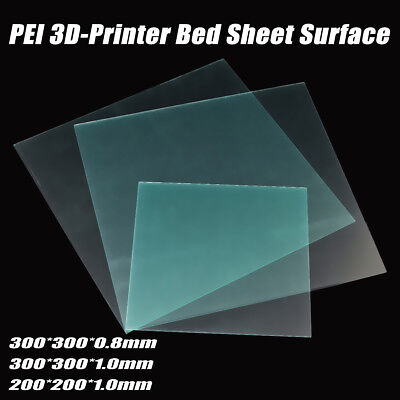 200/300mm 0.8/1.0mm  Polyetherimide 3D Printer Bed PEI Sheet Surface For PLA/ABS