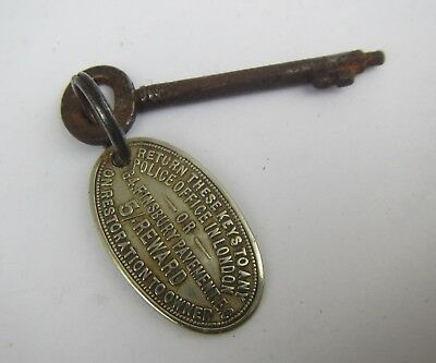 Old Key with 'British Key & Property Registry' Brass Fob - Glasgow