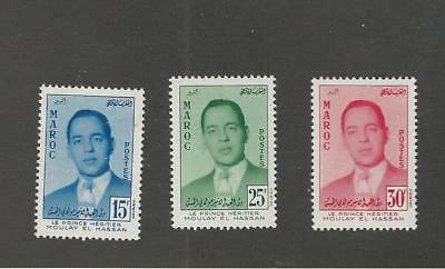 Morocco, Postage Stamp, #16-18 Mint Hinged, 1957