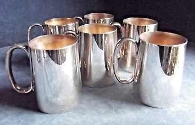 SUPERB ~ Set of SIX ~ SILVER Plated ~ ½ Pint TANKARDS ~ c1900 by Loftus