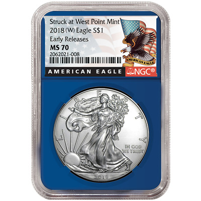 2018 (W) $1 American Silver Eagle NGC MS70 Black ER Label Blue Core