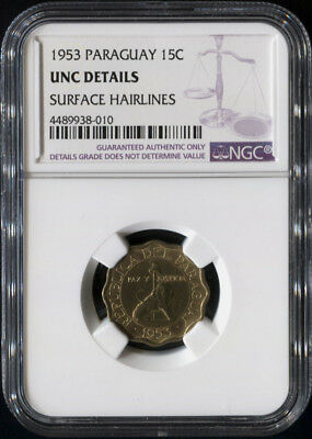 Tt 1953 Paraguay 15 Centimos Ngc Unc Details Well Struck Scalloped Coin!