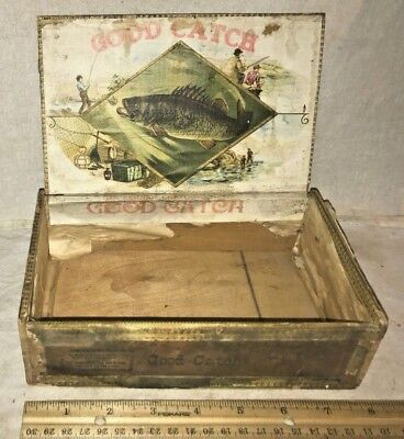 Antique Good Catch Wood Cigar Box Vintage Tobacco Bass Fishing Fish Water Sport