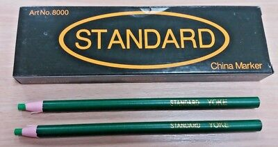 12 New Good Quality Green China Markers Pencils Write On Metal Plastic Uk Seller
