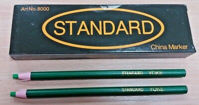 6 Good Quality Green Chinagraph China Markers Pencils Write On Metal Plastic Uk