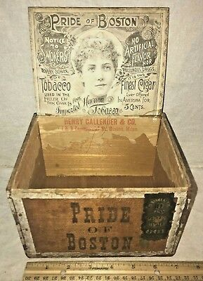 Antique Pride Of Boston Wood Cigar Box Vintage Tobacco Victorian Beautiful Lady