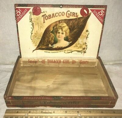 Antique Tobacco Girl Wood Cigar Box Vintage Victorian Lady Country Store  Old Pa