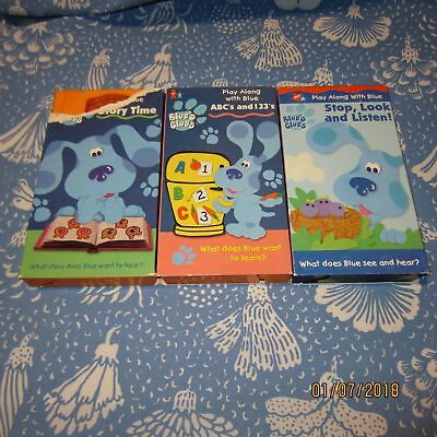 lot of 3 blues clues vhs tapes story time abc s 123 s stop look