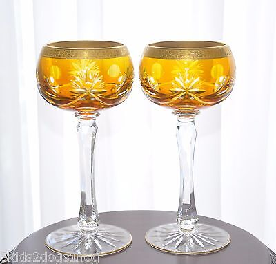 """Bohemian German Amber Gold Encrusted Cut to Clear Crystal Wine Goblets 8"""""""