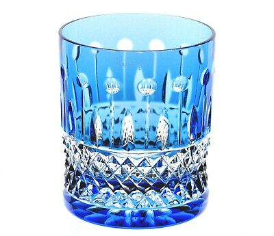 Faberge XENIA Azure Lt Blue Cut to Clear Crystal Rocks DOF Whiskey Glass Signed