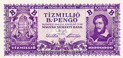 10 000 000  Bilpengo From Hungary1946!ef+ Banknote!pick-135