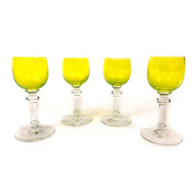 """Set of 4 Signed Baccarat Crystal France Yellow Tone Liquor Cordial Glass Cups 5"""""""