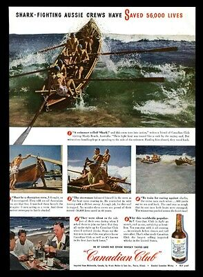 1947 Australia Manly Beach lifeguard boat 5 photo Canadian Club whisky print ad