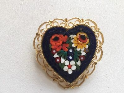 Vintage Italian Micro Mosaic Glass Flower Heart Pin Brooch Red White Navy Blue