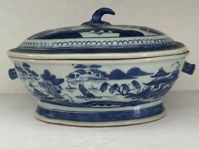 Antique Mid 19thC Chinese Export Porcelain Blue Canton Soup Boar's Head Handles