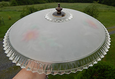 "Vintage Deco Ceiling Light Lamp Fixture 15"" Frosted Glass Painted Floral Shade"