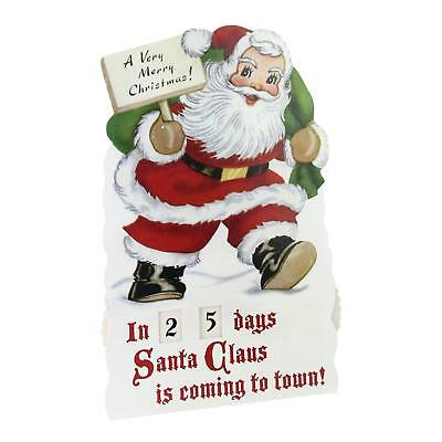 """18.25"""" Vintage-Style Glittered Santa Countdown to Christmas Rotating Number Sign"""