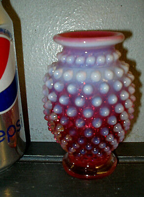 Vintage Fenton Art Glass Vase Cranberry Red With White Opalescent Hobnail