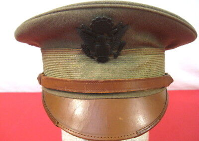 WWI US Army AEF M1912 Officer's Visor Service Cap or Hat w/Leather Brim - Size 7
