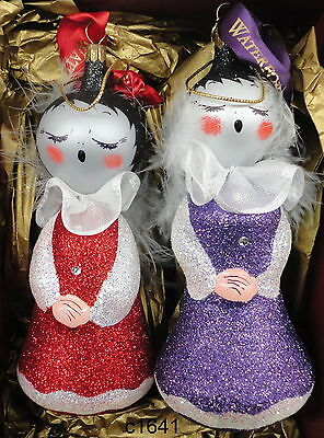 Waterford Holiday Heirlooms 2 SUGAR PLUM SNOW ANGELS Glass Ornament - NEW in box