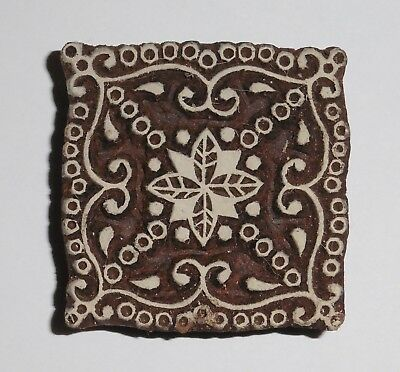 Square Shaped 5.8cm Indian Hand Carved Wooden Printing Block (SQ38)