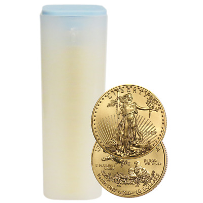 Lot of 40 - 2018 $10 American Gold Eagle 1/4 oz BU Full Roll
