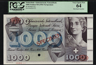 TT PK 52s 1954 SWITZERLAND 1000 FRANKEN SCARCE SPECIMEN PCGS 64 VERY CHOICE NEW