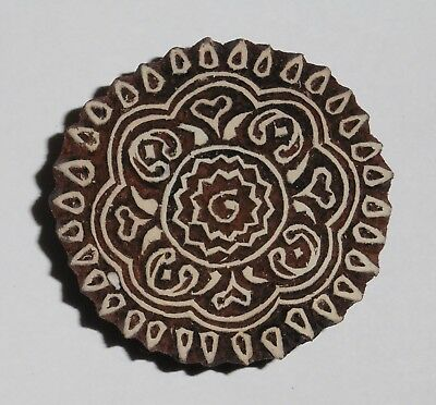 Round Shaped 5.2cm Indian Hand Carved Wooden Printing Block Stamp (2018-RD-1)