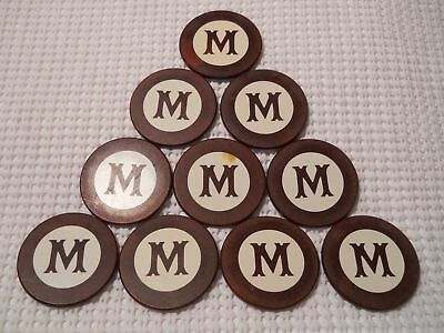 Ten Antique Clay Poker Chips With M Monogram