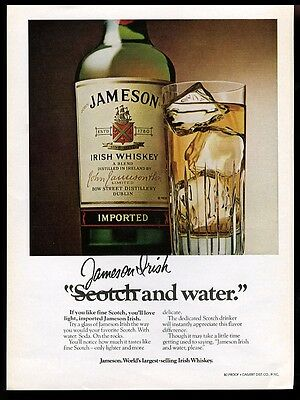 1980 John Jameson's Irish whiskey bottle and highball glass pic vintage print ad