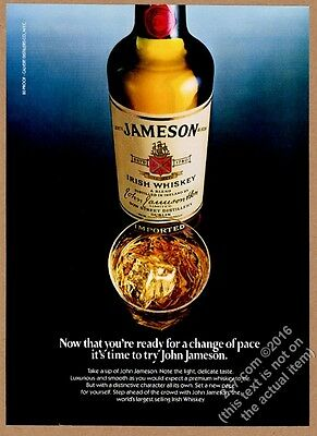 1982 John Jameson's Irish Whiskey bottle rocks glass photo vintage print ad