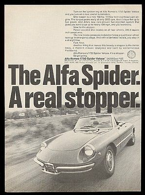 1970 Alfa Romeo 1750 Spider Veloce car photo vintage print ad