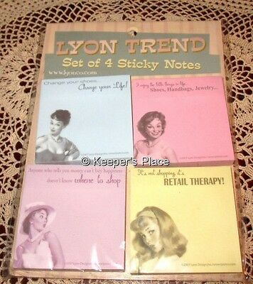 Set of 4 Sticky Notes Retro 50's Women Shopping By Lyon Trend 2007 New