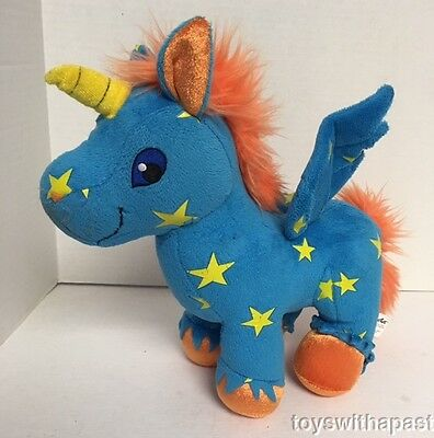 "Neopets UNICORN Pegasus Blue Yellow Stars Uni Alicorn 11"" Plush 2008"